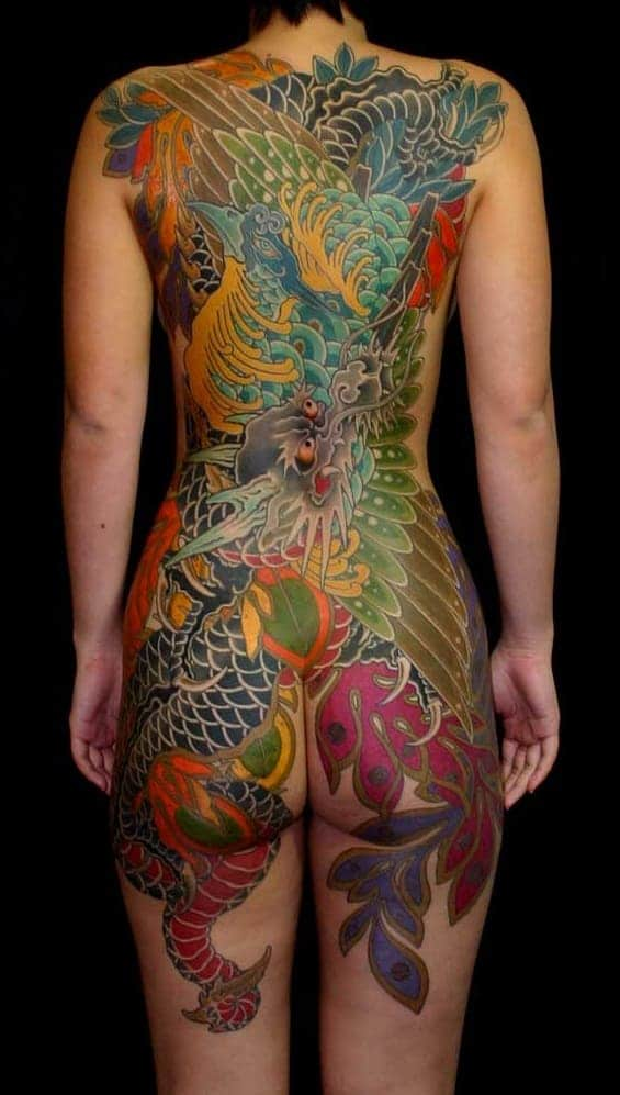 Japanese Phoenix and Dragon Tattoo