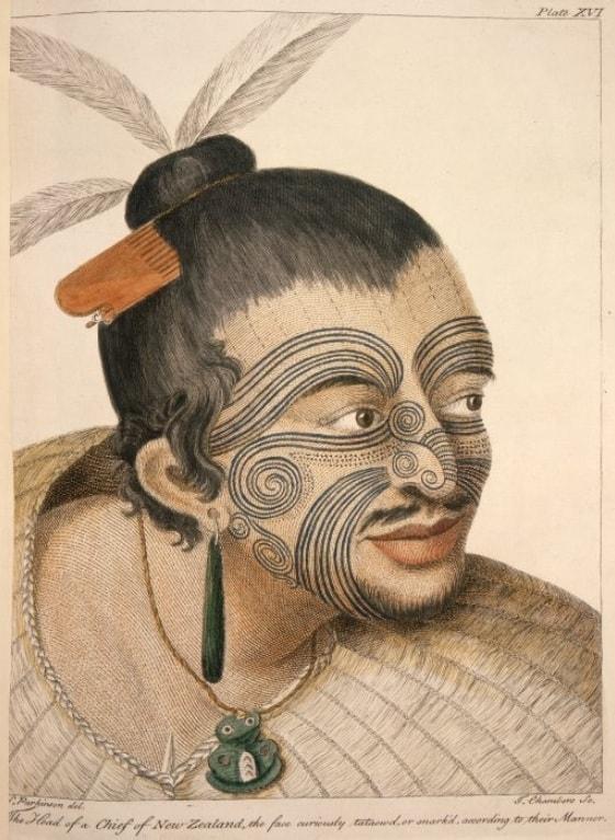Portrait of a Maori Man with a Maori Face Tattoo