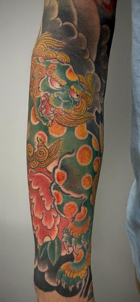 Tebori Fu-Dog Tattoo