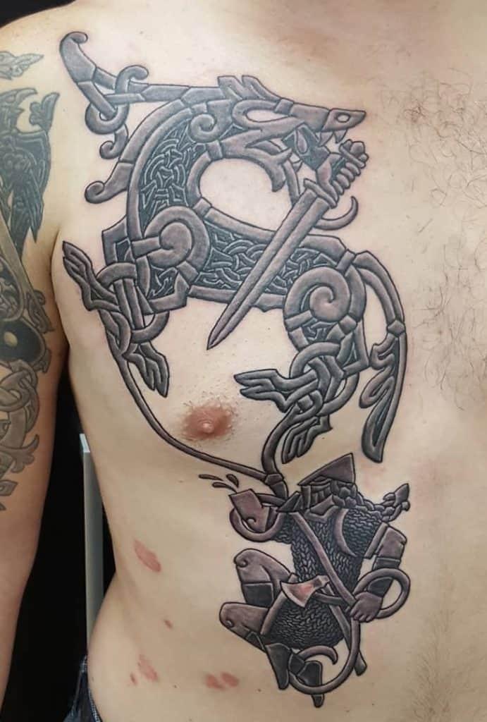 Tyr and Fenrir Tattoo