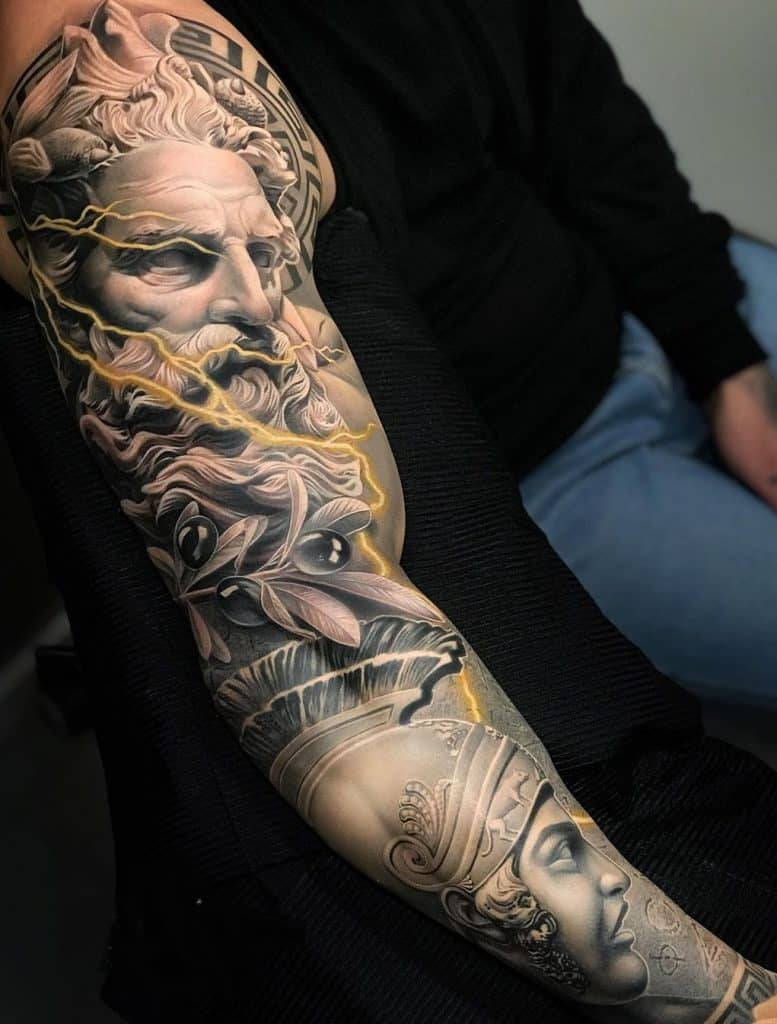 Zeus and Achilles Sleeve Tattoo