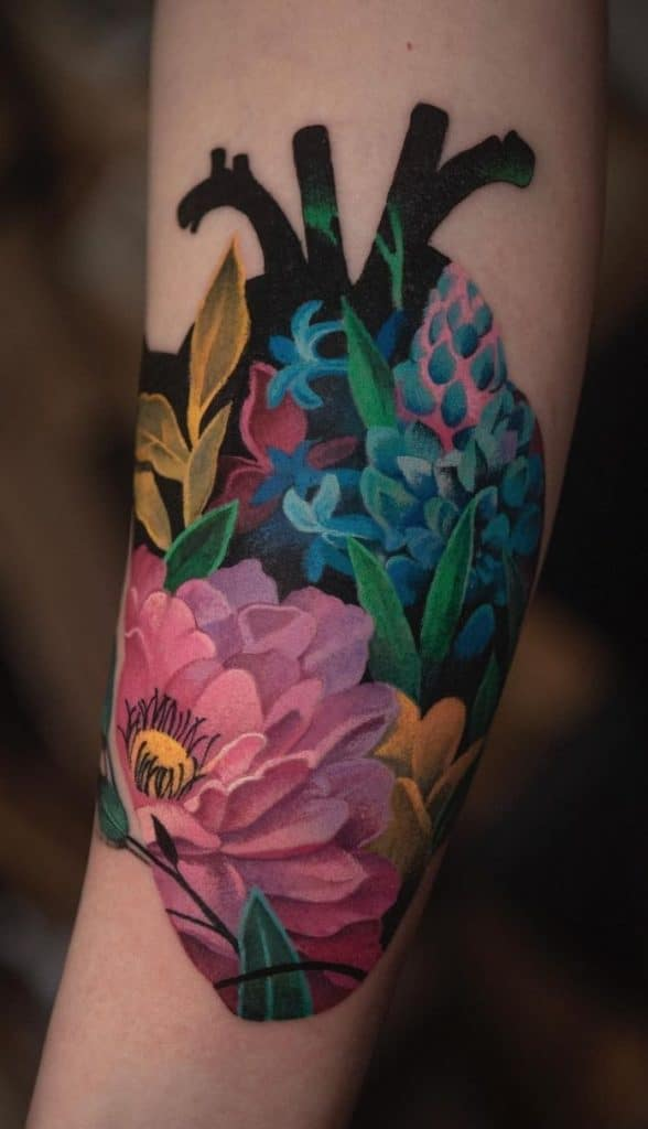 Anatomical Heart and Flower Tattoo