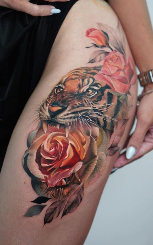 Animal and Flower Tattoo