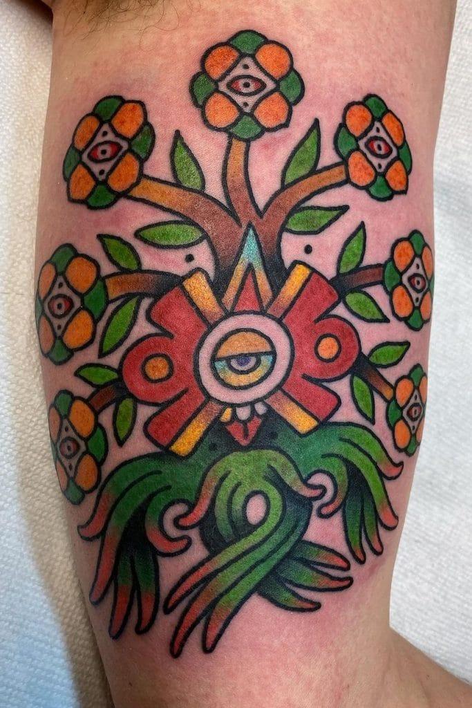Aztec Flower Tattoo