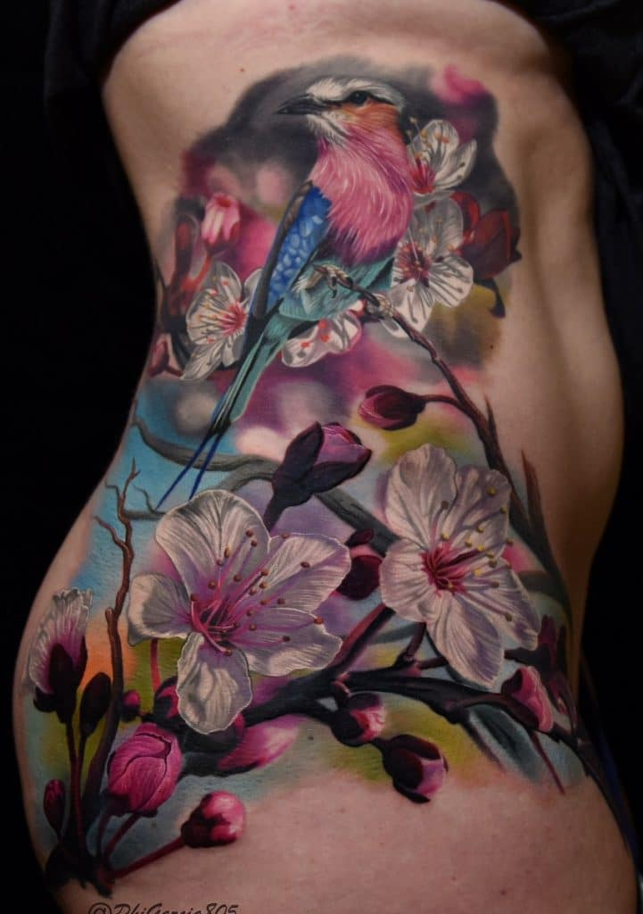 Bird and Flowers Tattoo