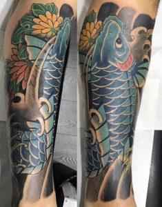 Blue Koi Fish Tattoo