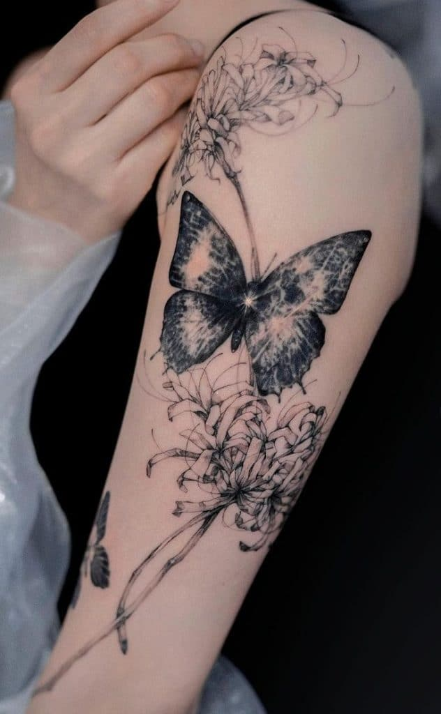 Butterflies with Spider Lily Tattoo