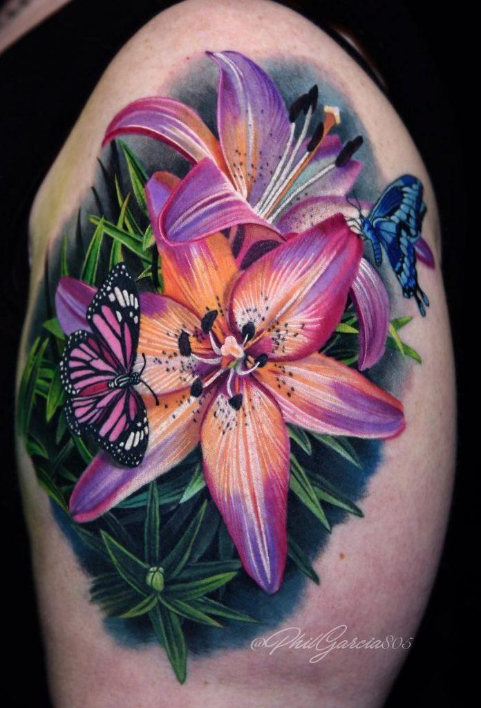 Butterflies with Flower Tattoo