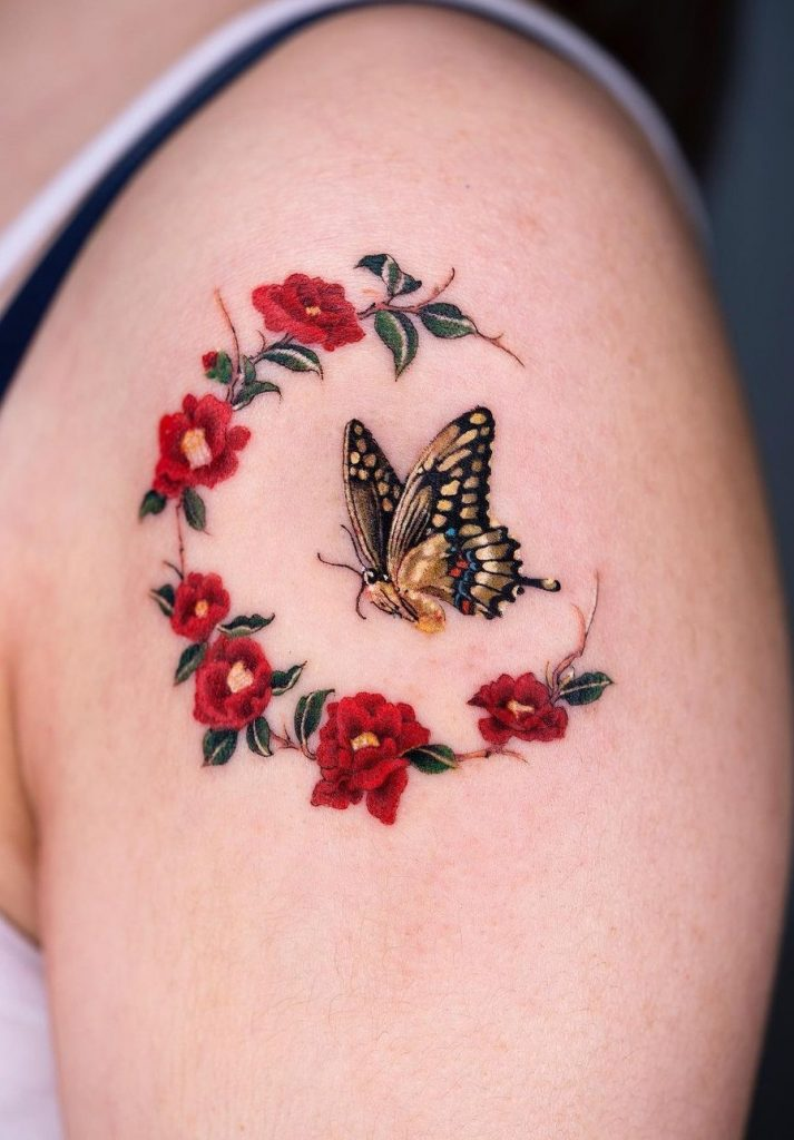 Flowers and Butterfly Tattoo
