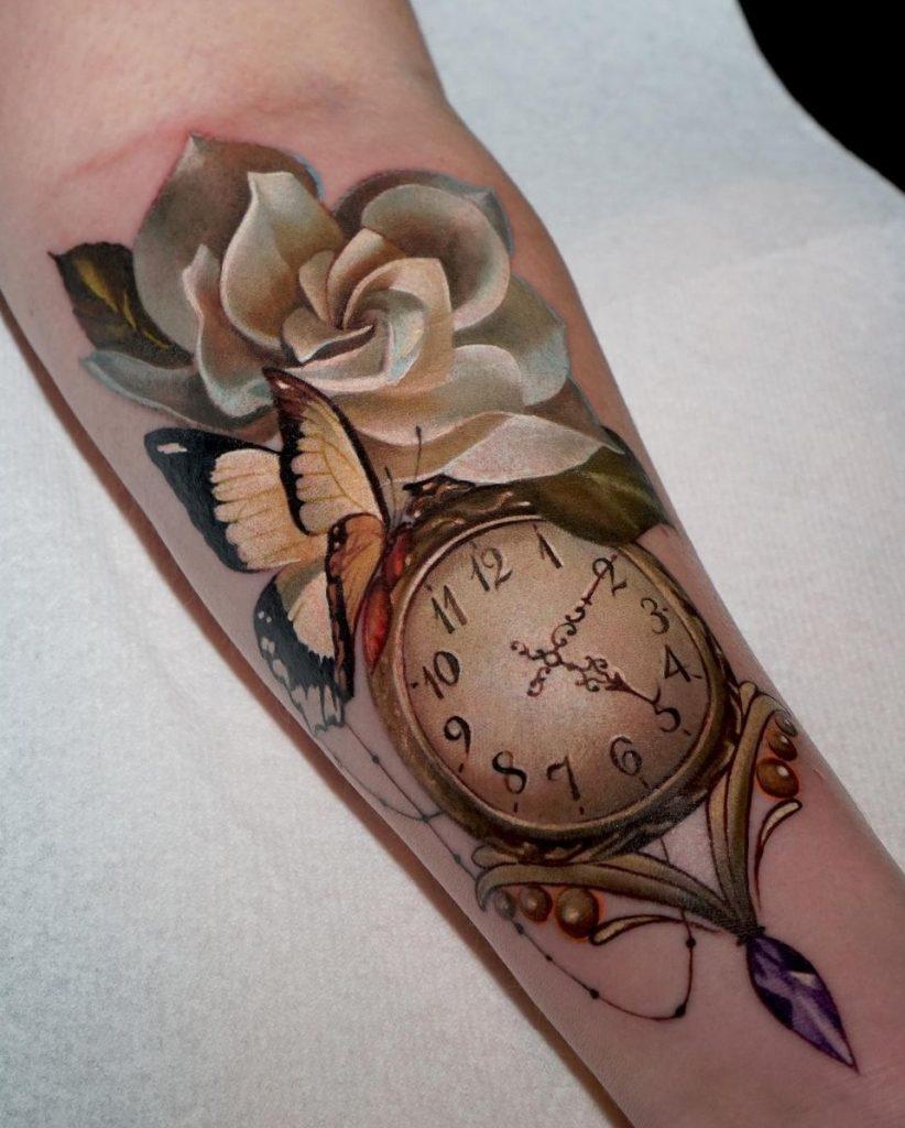 Clock and Flower Tattoo