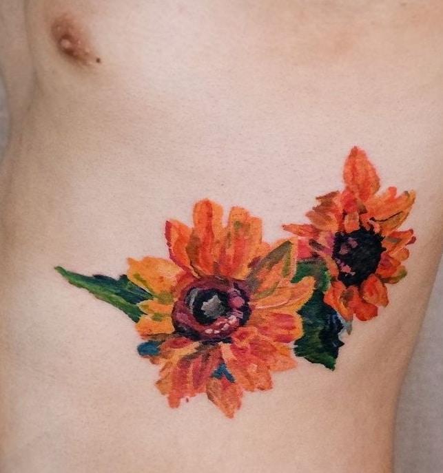 Crayon Flower Tattoo