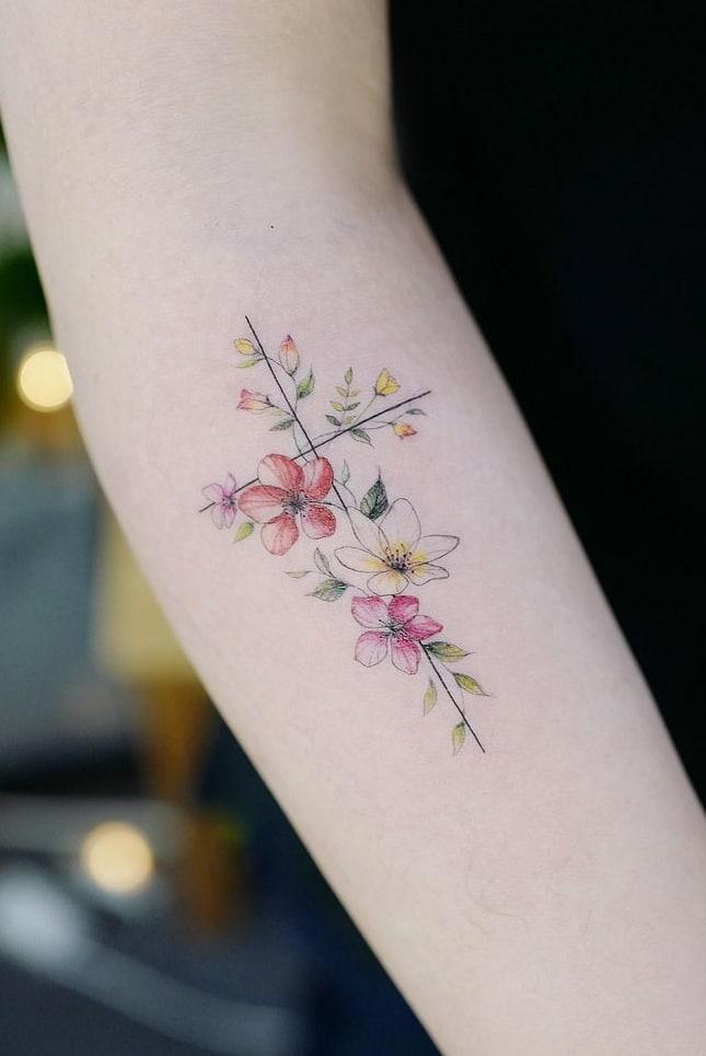 Cross Flower Tattoo