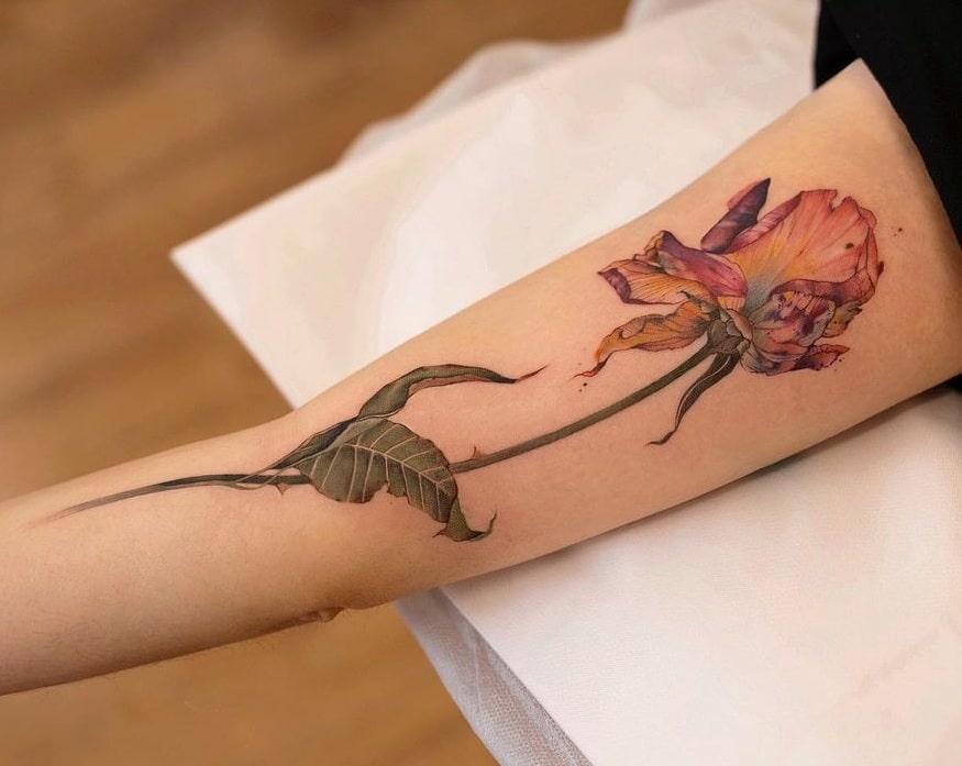 Dried Flower Tattoo
