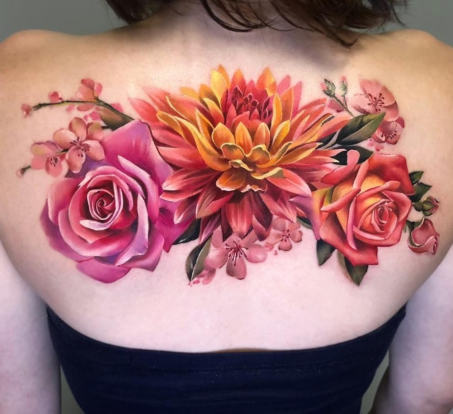 Floral Back-piece Tattoo