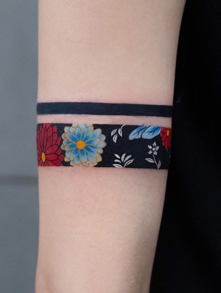 Floral Band Tattoo