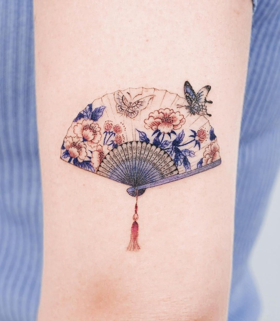 Floral Fan Tattoo