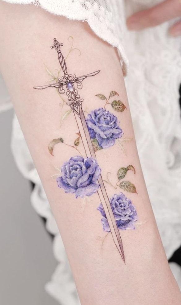 Floral Sword Tattoo