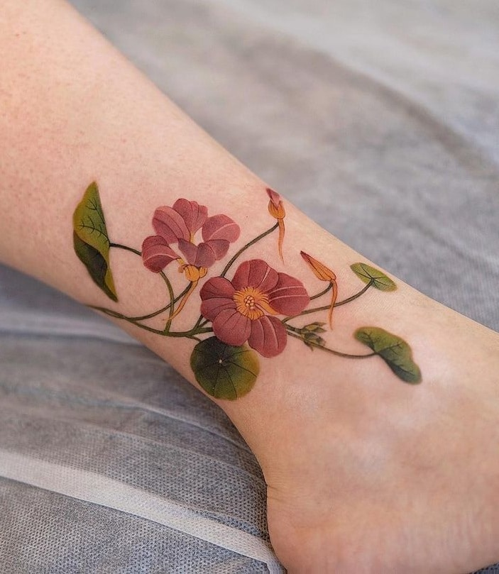 Flower Ankle Tattoo