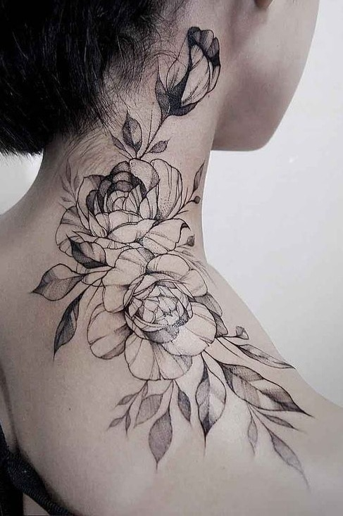 Flower Neck Tattoo
