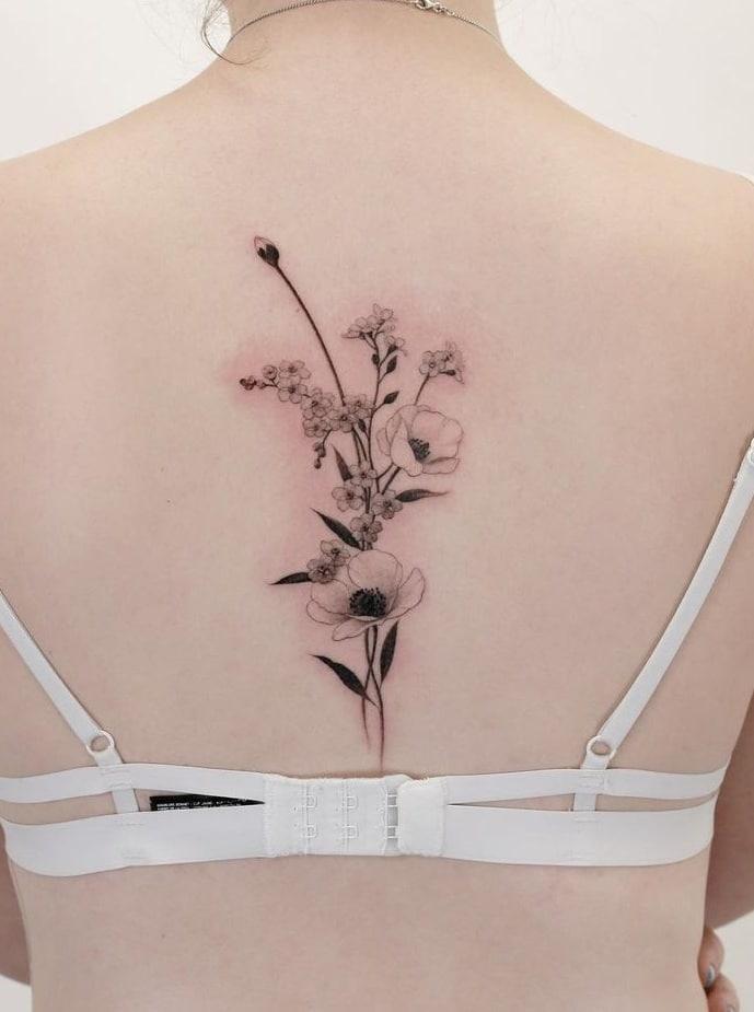 Flower Spine Tattoo