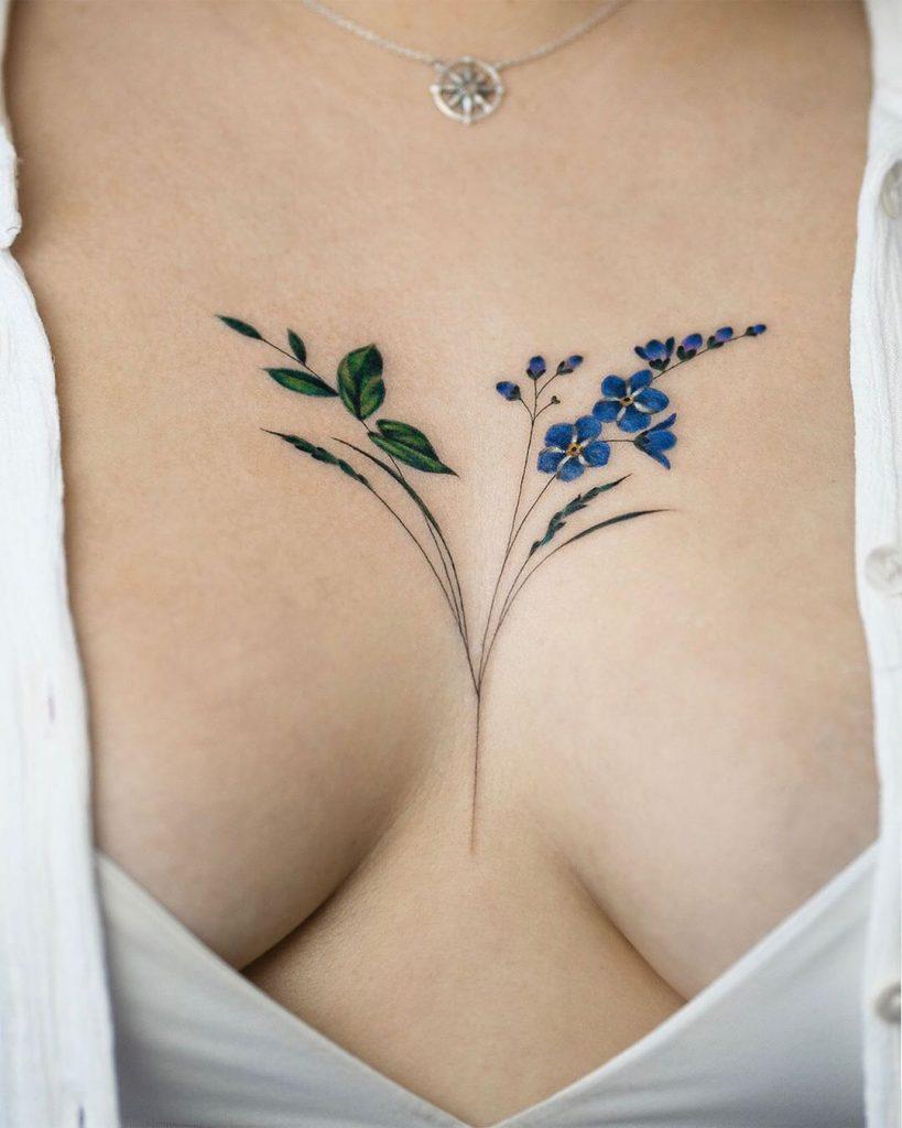 Flower Sternum Tattoo