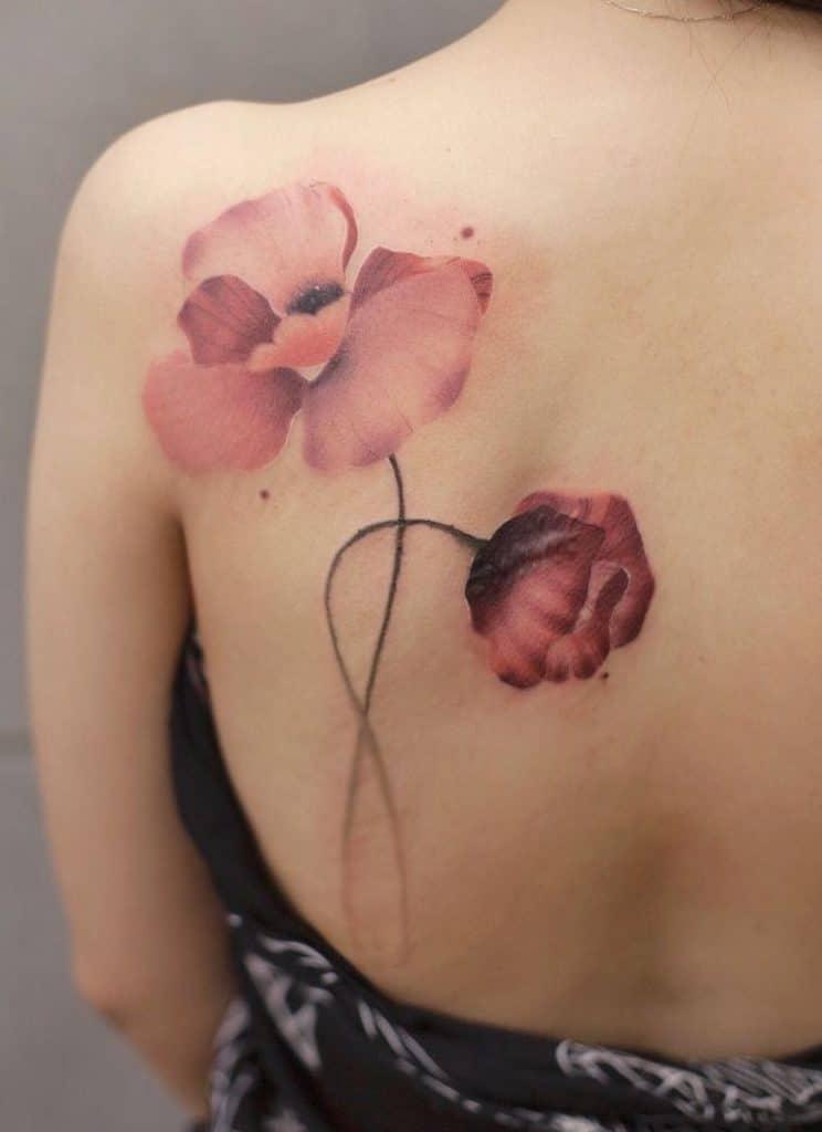 Flower Tattoo on Shoulder Blade