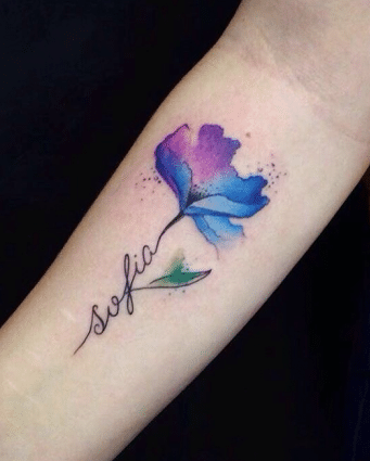 Flower Tattoo with Name in Stem