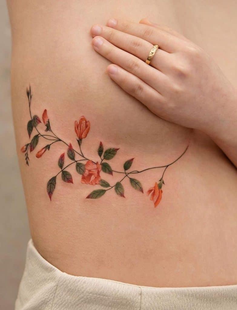 Flower Under-breast Tattoo