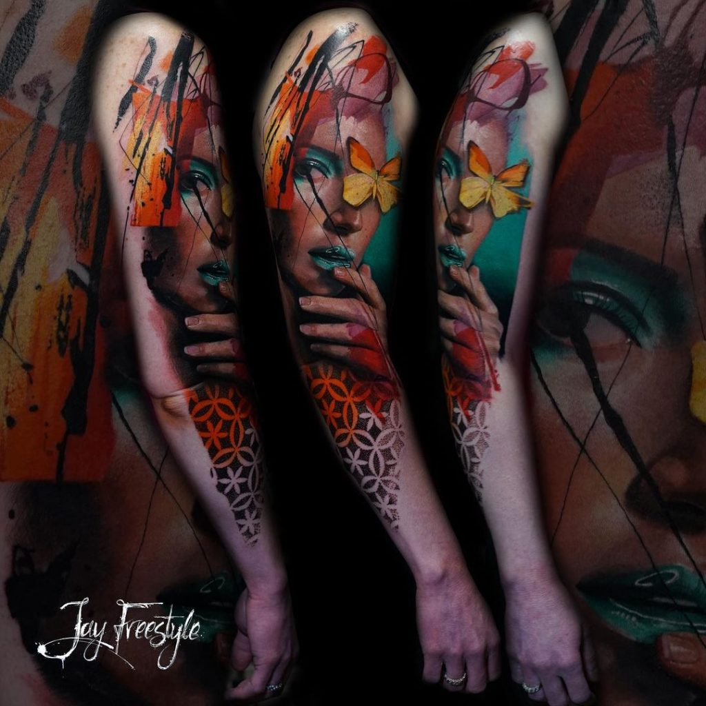 Jay Freestyle's Watercolor Tattoo