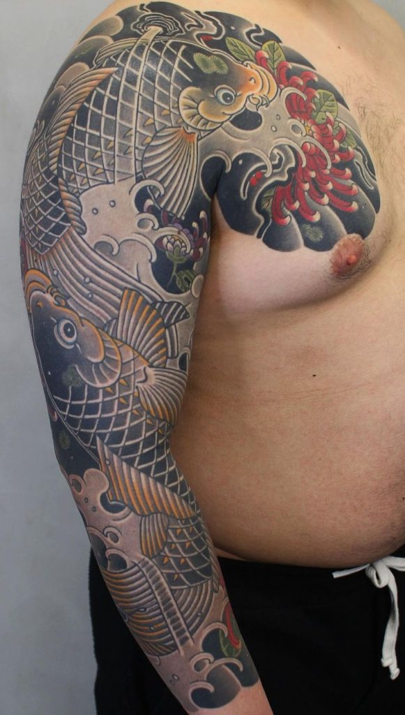 Koi Fish Sleeve Tattoo