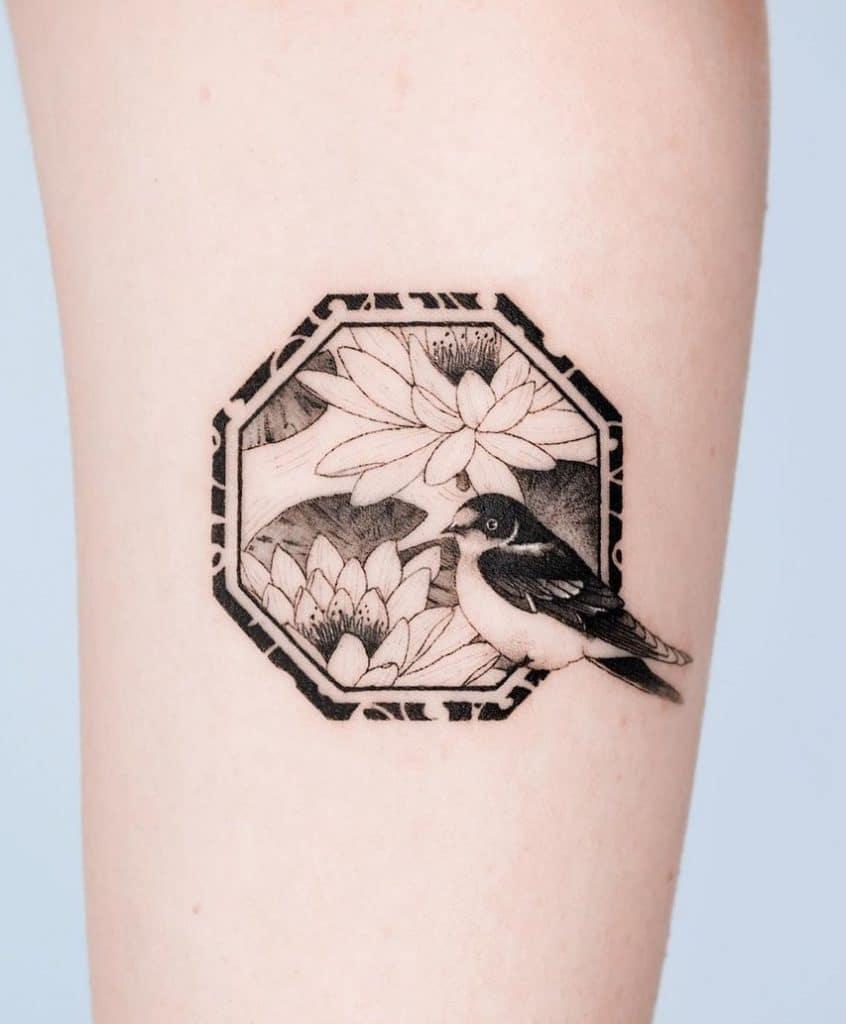 Lotus and Bird Tattoo