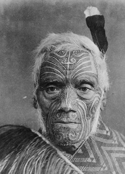 Maori Chief with Face Tattoo