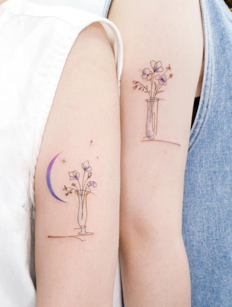 Matching Flowers Tattoos