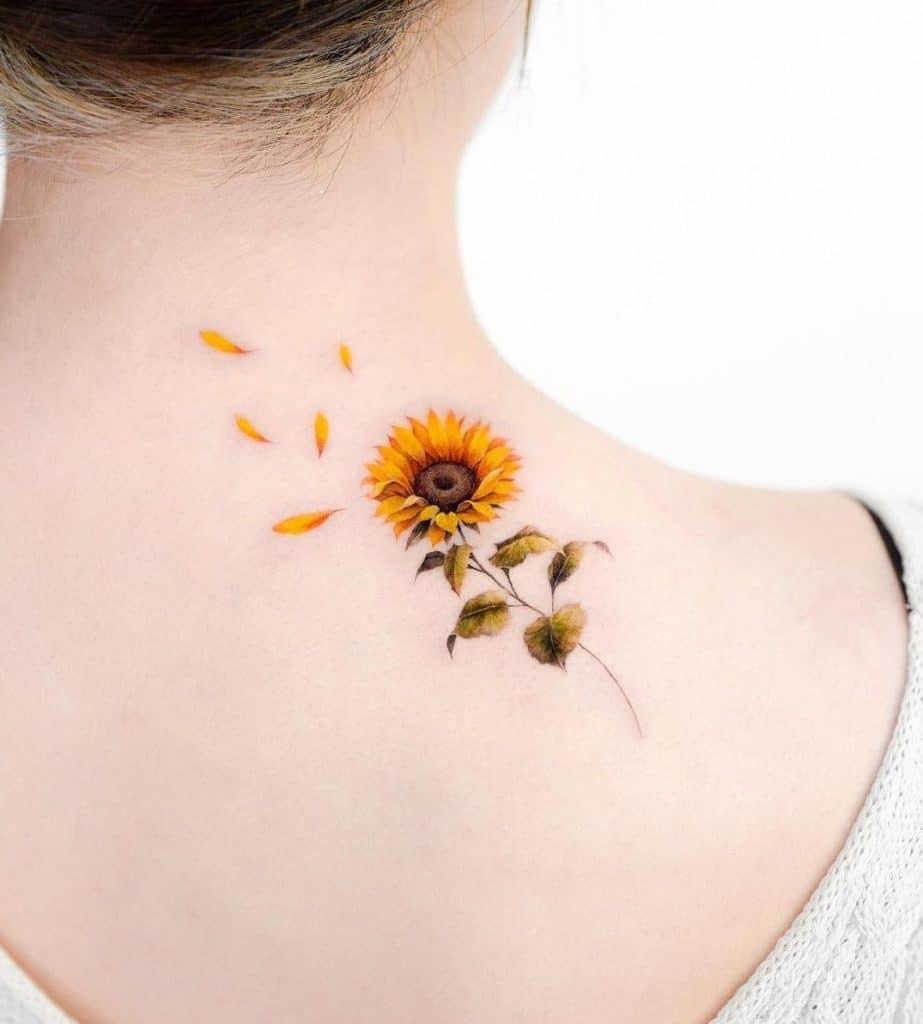 Micro-realist Sunflower Tattoo