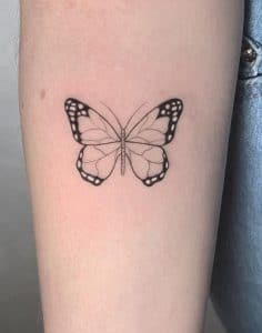 Simple Black and Grey Butterfly Tattoo