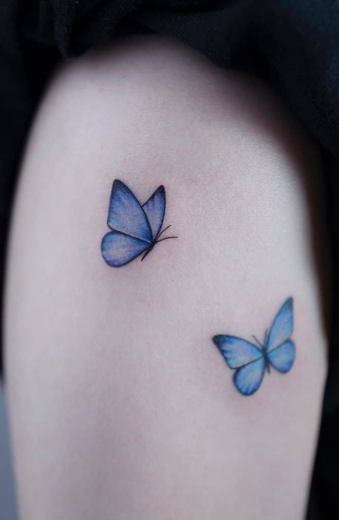 Simple Blue Butterfly Tattoo