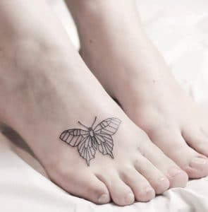 Simple Butterfly Foot Tattoo