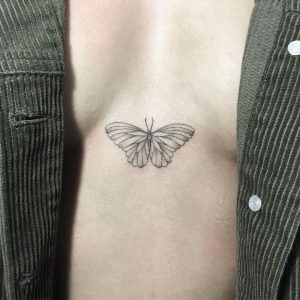 Simple Butterfly Sternum Tattoo