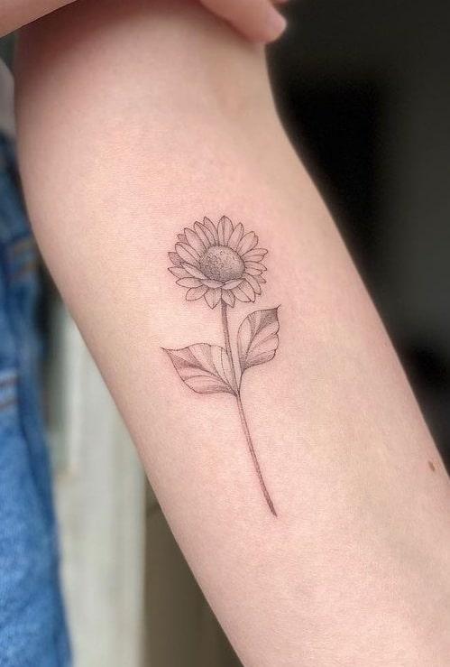 Small Black and Grey Sunflower Tattoo