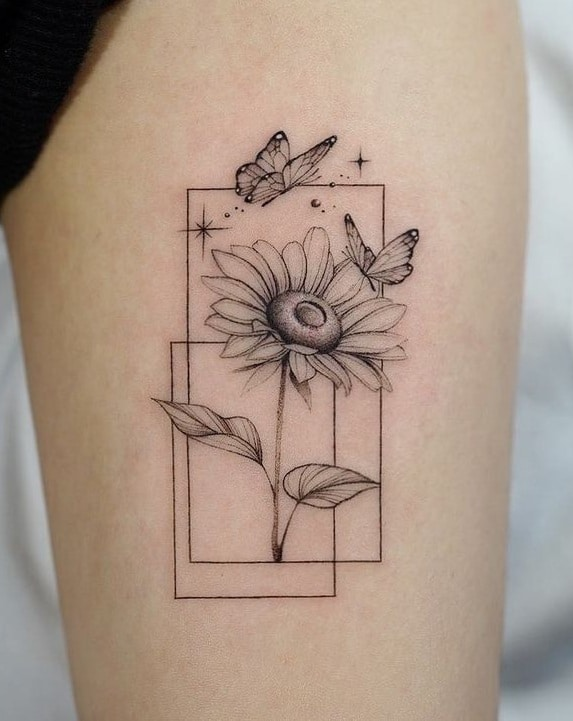 Small Butterfly and Sunflower Tattoo
