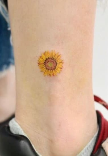 Small Sunflower Tattoo on Ankle