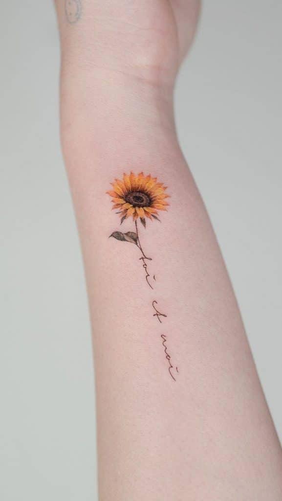 Small Sunflower Tattoo on Wrist
