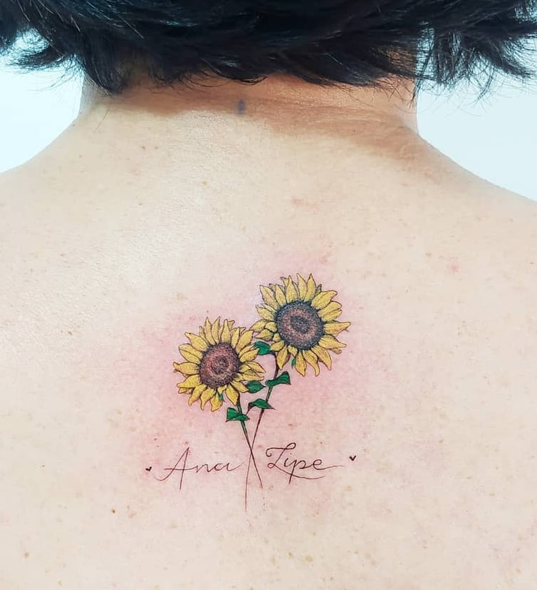 Small Sunflower Tattoo with Name