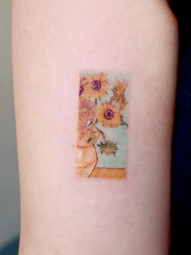 Small Sunflower Vase Tattoo