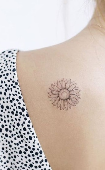 Small and Simple Sunflower Tattoo