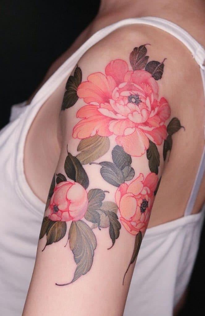 Upper Arm Flower Tattoo