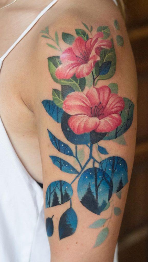 Vine and Flower Tattoo