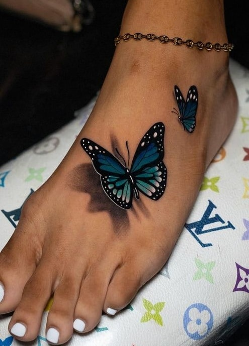 3D Butterfly Tattoo on Foot