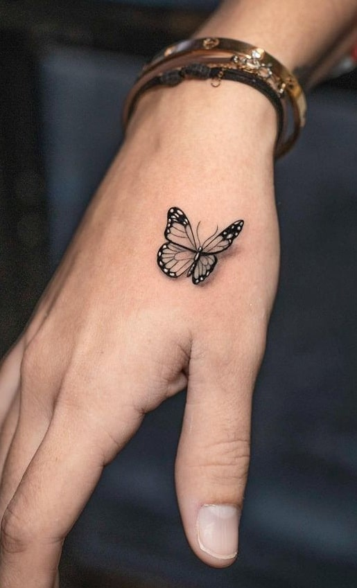 3D Butterfly Tattoo on Hand