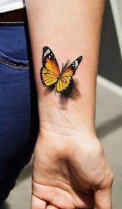 3D Butterfly Tattoo on Wrist